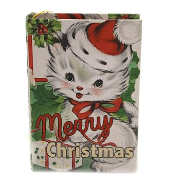 Holiday Ornaments FURRY FRIENDS RETRO BOOK ORN Wood Opens Lo8194 Cat