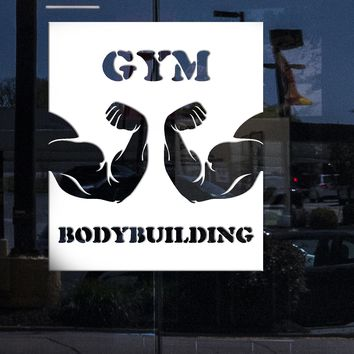 Window and Door Vinyl Decal Wall Sticker Gym Bodybuilding Biceps Sport Emblem (n840w)