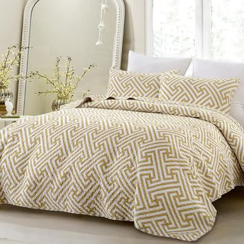 3pc Geometric Modern All Season Super Soft Oversized Quilt Set - Taupe - Style 1059