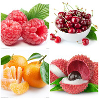 4 kinds of fruit Packages Edible Fruit Seeds Bonsai  Garden Fruit Plant, Sweet And Delicious cherry. Orange .lychee. Raspberry.