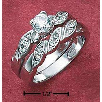 Sterling Silver Ring:  4.5mm Cubic Zirconia Twisted Pave Shank Wedding Band Set