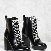 Faux Leather Stacked Heel Boots