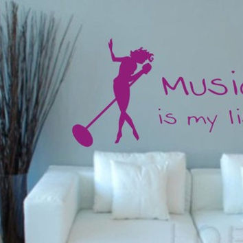 Music Is My Life  Wall Decal Sticker