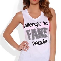 Twist Back Tunic Tank Top with Allergic to Fake People Screen