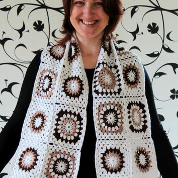 Granny square Scarf, white, brown, beige color, neckwarmer