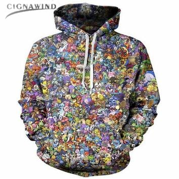 New Classic Anime  printed 3d sweatshirt women/mens Hoodies Front Pocket Drawstring coat Harajuku style unisex PulloversKawaii Pokemon go  AT_89_9