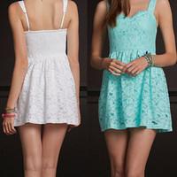 LACE STRAPLESS Hollow out DRESS