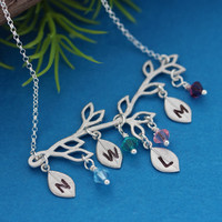 Family Tree Birthstone Necklace .  Unique gift ideas, Family tree Personalized with initials, Birthstones, Mother's Day , Grandmother gift