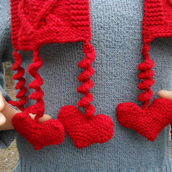 Ranch Red Cable Hearts Scarf with Corkscrew Heart Fringe