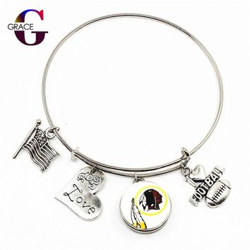 Washington Redskins Adjustable I Love Football Expandable Women Bangle Bracelets With Ginger Snaps Buttons Jewelry Sports Charms