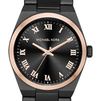 Women's MICHAEL Michael Kors 'Channing' Chain Bracelet Watch, 38mm - Black/ Rose Gold