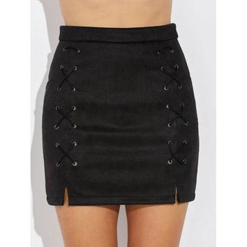 Double Criss Cross Bandages Faux Suede Skirt - Black M