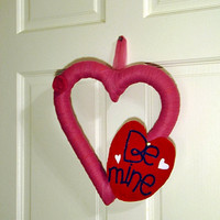 Valentine's day wreath Be Mine pink heart by UnusuallyYours