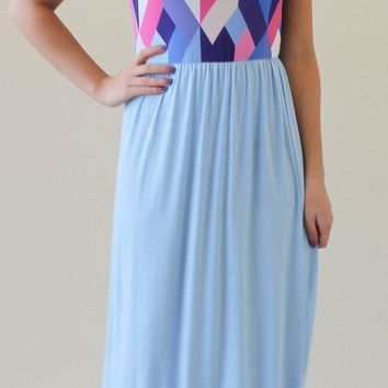 Geometric Print Maxi Dress - Light Blue