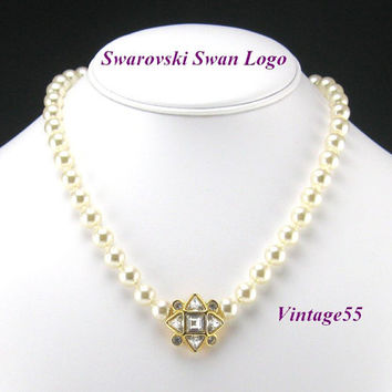Vintage Necklace Faux Pearl Swarovski signed Trillion Rhinestone