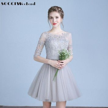 SOCCI Grey Short Cocktail Dresses 2018 Three Quarter Sleeves Tulle Lace Prom Dress Formal Wedding Party Gown Vestidos de curtos