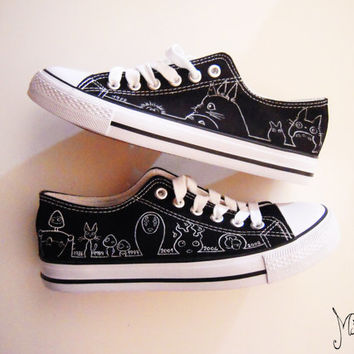 Studio Ghibli hand painted shoes series / Miyazaki characters shoes / Black & White shoes