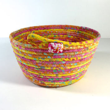 Clothesline Basket - Sunny Yellow Orange Pink -  Handmade Batik Coiled Rope Bowl - Fabric Organizer - OOAK Fiber Art - Quilted Gift Basket