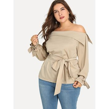 Plus Fold Over Oblique Shoulder Knot Blouse
