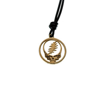 Steal Your Face Brass And Black Leather Necklace