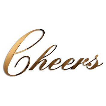 Letter2Word Hand Painted Cheers 3D Wall Sculpture - Gold