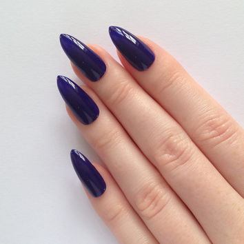 Indigo stiletto nails, Nail designs, Nail art, Nails, Stiletto nails, Acrylic nails, Pointy nails, Fake nails, False nails