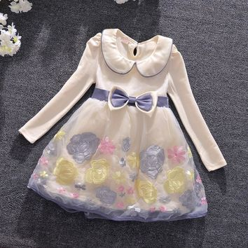 Girl Dress Girls Autumn Dress Peter Pan Collar Kids Dresses for Girls Clothes Girls Flowers Embroidery Dress Kids Clothes 3-9T