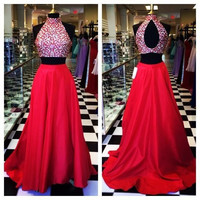 High Neck Prom Dresses,Two Piece Evening Dresses, Red Satin Front Open Back Long Dress