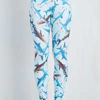 Quirky Skinny Fresh Take Leggings in Sharks by ModCloth