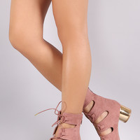 Qupid Suede Lace Up Round Metallic Heel