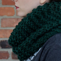 SCARF - COWL Scarf - INFINITY Scarf - Knit Scarf in Pine Green -  Scarf Hood - Handmade Knit Scarves - Chunky Cowl Scarf