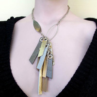Statement Jewelry ,Silver, Gold And Grey Leather Necklace / Made To Order