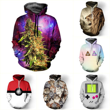 New 2016 Fashion Women/men Unisex 3D Hoodies Sweatshirt Weed Floral Galaxy Hoodi