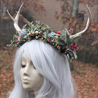 Winter Antler Headdress Crown * Christmas Hair Wreath, Winter Witch, Holiday Decoration, Antler Jewelry, Shaman headdress, Faerie, Woodland