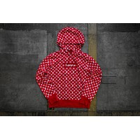 Mens Supreme Box Logo/Louis Vuitton Hooded Sweatshirt Red Hoodie