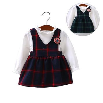 New Plaid Casual Baby Dress Spring Korean Girls Couple Fake 2 Pieces Of Cotton Selling Candy