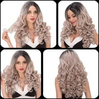 Boutique Long Wavy Side Parting Black Mixed Silver Cosplay Lolita Synthetic Wig For Women