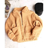 zip up teddy bear jacket - camel