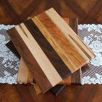 Cutting Board / Cheese Board  with Maple, Walnut, and Cherry