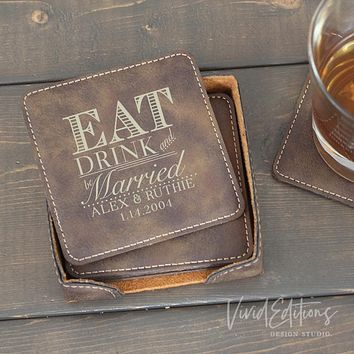 Square Personalized Leather Coaster Set of 6 - Rustic CB11