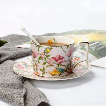 Ceramics Coffee Cups and Saucers Set floral durable dish cups