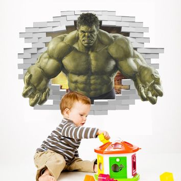the Incredible hulk smash wall art decal avengers Fists through wallpaper for kids boy bedroom decor decorative nursery sticker