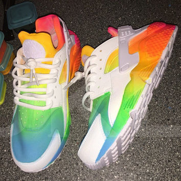 Neon 'SUMMERS* Nike Air Huarache customs.