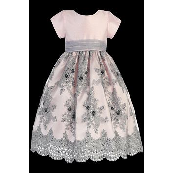 Pale Pink Shantung & Silver Embroidered Tulle Overlay Christmas Holiday Dress (Girls 2T - Size 12)