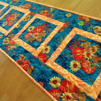 Modern fall table runner, teal and orange, autumn table topper, pumpkins, fall foliage, table mat, quilted, contemporary, quiltsy handmade