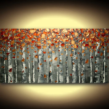 ORIGINAL abstract painting textured art landscape oil painting palette knife birch tree woodlands gray copper large wall art canvas Susanna