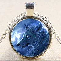 Wolf Glass Cabochon Necklace