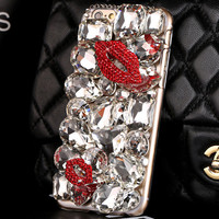 Elegant Phone 6 6s Case Snap On Hard Plastic Case Phone 5 6 plus Cover Bling Case Girly Red Lip Case Bling iPhone Stylish