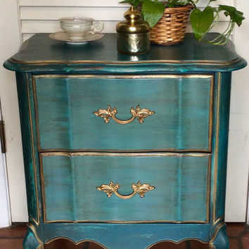 French Style Blue Nightstand 1950s