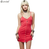 Gamiss Summer Dresses Fashion Sexy V-neck Button Fly Woman Knit Braces Dress Boho people style Sundresses beach dress